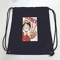 Balo dây rút đen in hình ONE PIECE anime chibi Đảo Hải Tặc túi rút đi học xinh xắn thời trang thumbnail