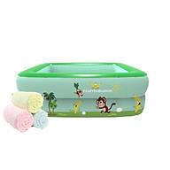 Bể bơi phao 2 tầng cho bé size 115x85x35cm tặng kèm Khăn tắm Nhật bản 140x70cm (màu ngẫu nhiên - trên mặt khăn có hình) thumbnail