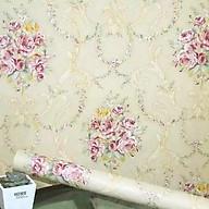 Cuộn 5m Decal Giấy Dán Tường Chùm hồng cổ điển vàng kem (5m dài x 0.45m rộng) thumbnail
