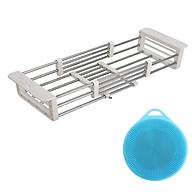 Kệ inox gác trên bồn rửa tặng kèm miếng rửa bát silico thumbnail