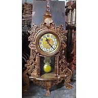Đồng hồ quả lắc tân cổ điển để bàn bằng gỗ mun đuôi công kt cao 68 45 15cm thumbnail