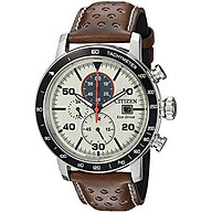 Citizen Men s Eco-Drive Quartz Stainless Steel and Leather Casual Watch, Color Brown (Model CA0649-06X) thumbnail