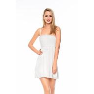 Dreamy-VX10-06-- Váy ngủ lụa cao cấp, váy ngủ nữ, váy ngủ 2 dây, váy ngủ gợi cảm, váy ngủ sexy, đầm ngủ lụa mặc nhà 2 dây phối ren ngực màu trắng thumbnail
