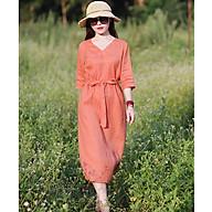 Đầm suông linen cổ tim tay lỡ ArcticHunter, chất vải linen mềm mát, thời trang xuân hè 2021 - Cam thumbnail