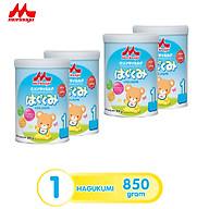 Combo 4 lon Sữa Morinaga Số 1 Hagukumi Nhật Bản 850g có tem chính hãng thumbnail