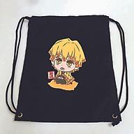 Balo dây rút đen in hình KIMETSU NO YAIBA anime chibi ver NGỒI túi rút đi học xinh xắn thời trang thumbnail