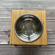 Khay gỗ ăn uống nước cho Chó Mèo bằng gỗ Tre ép thanh tự nhiên,(Tặng kèm bát Inox ) Chống cong vênh mối mọt,Phù hợp với khí hậu nóng ẩm cao,Bề mặt xử lí kĩ mịn giúp Pet không bị ráp chày xước,Màu gỗ Tre nguyên bản đẹp sáng rất tự nhiên - Khay ăn cho mèo,Khay ăn uống nước cho Cún thumbnail
