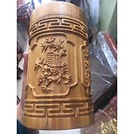 Hộp đựng chè trạm khắc Tứ quý tinh xảo gỗ Bách Xanh thơm ngát loại to cao 20cm thumbnail