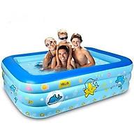 Bể bơi phao cho bé loại nào tốt,Bể bơi phao trong nhà, hình chữ nhật kích thước 180cm TẶNG KÈM BƠM thumbnail
