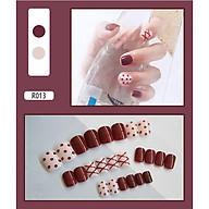 Bộ 24 móng tay giả (R013) tặng kèm thun lò xo cột tóc màu đen tiện lợi thumbnail