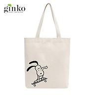 Túi Tote Vải Mộc GINKO Dây Kéo In Hình Snoopy Trượt Ván M22 thumbnail