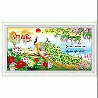 Tranh thêu chữ thập Vợ Chồng_Chim Công (82 40cm) chưa thêu thumbnail