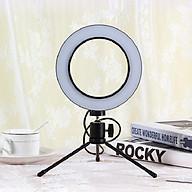 Bộ đèn livestream mini 3 chế độ 16cm có giá đỡ 3 chân xoay 360 kèm kẹp điện thoại - Hàng chính hãng thumbnail
