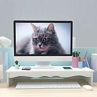 Kệ màn hình máy tính để bàn kệ đỡ màn hình vi tính giảm mỏi cho dân văn phòng kệ sách kệ hồ sơ để bàn kèm cắm viết bằng tấm gỗ nhựa composite màu trắng - Tặng kèm 1 móc khóa khung hình thời trang thumbnail