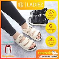 Dép Quai Hậu Nữ Đẹp, Sandal 3 Quai Dán Ngang Họa Tiết Chữ Thời Trang Cao Cấp Ladiez Thoáng Khí Êm Chân Độn Đế Xinh Xắn . thumbnail