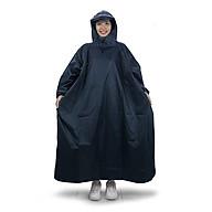 Áo mưa bít người vải dù tổ ong cao cấp freesize - Xanh đen thumbnail