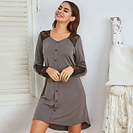 Women Nightdress Lace Splicing Buttons V-Neck Long Sleeve Above-Knee Nightgowns Loose Casual Loungewear thumbnail