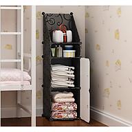 Tủ đầu giường lắp ghép (2 ô lớn, 1 ô nhỏ, 1 ô xéo) màu đen, cửa trắng thumbnail