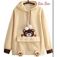 Áo hoodie nỉ nam nữ hình chú gấu teedy có túi trước, chất nỉ mềm nhẹ, không xù thumbnail