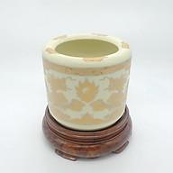 Combo bát hương men vàng kim và đế (đế gỗ hương) thumbnail