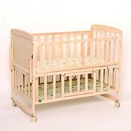 Giường cũi gỗ thông 2 tầng có bánh xe cho bé kèm màn chụp quây đệm Gd456 , Nôi giường trẻ em đa năng thumbnail