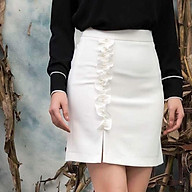 váy công sở nhún xẻ đùi trắng thumbnail