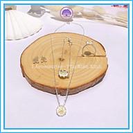 Bộ Trang Sức Nữ Cúc Họa Mi Dây Chuyền Bông Tai Nhẫn Vòng Tay Mạ bạc 925 thumbnail