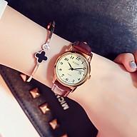 Đồng hồ nữ julius Hàn Quốc JA-508LC dây da nâu vàng có lịch ngày thumbnail