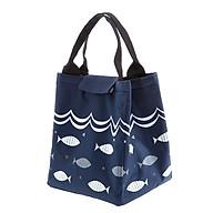 Túi Đựng Hộp Cơm Giữ Nhiệt Đa Năng Họa Tiết Cá Và Sóng Biển Siêu Hot - Tím Than thumbnail