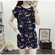Set Lady phong cách Hàn Quốc áo cộc tay rời quần - Xanh đậm S02 thumbnail