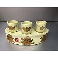 Bộ cúng nước 3 ly bằng sứ hoa sen vàng -TL312 thumbnail
