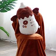 Bộ gấu gối mền CHAI SỮA NÂU 3 trong 1, gấu bông kèm chăn gối ngủ trưa văn phòng, du lịch, cho bé thumbnail