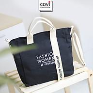 Túi vải Hàn Quốc, túi đeo chéo vải canvas phối chữ Fashion Moment thời trang Covi nhiều màu sắc T11-M-Màu Đen thumbnail