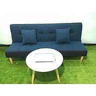 Ghế sofa bed, sofa giường xanh viền đen bố và bàn tròn GvsB thumbnail