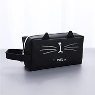 Hộp bút nhựa vuông họa tiết hình mèo - nhiều màu thumbnail