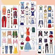 Búp bê giấy thay đồ thời trang đồ chơi cắt thủ công cho bé Combo 6 hình siêu đáng yêu 008 thumbnail