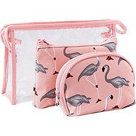 Bộ 3 túi đựng mỹ phẩm hình con cò (tặng kèm 1 sản phẩm ngẫu nhiên) thumbnail