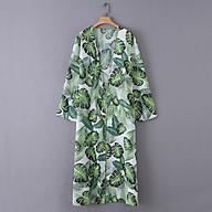 Áo Khoác Đi Biển Kiểu Kimono Tay Dài Hoạ Tiết In Lá Cây Nhiệt Đới thumbnail