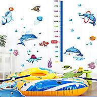 Decal dán tường thước đo chiều cao cho bé thước cá heo ngộ nghĩnh sk9034 thumbnail
