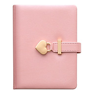 B6 Diary Heart Shaped Lock Diary with Lock and Key PU Secret Notebook Vintage Travel Journal 144 Sheet Lined Paper Soft thumbnail