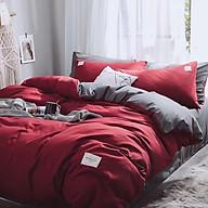 Bộ vỏ chăn drap gối cotton TC một màu (Đỏ) thumbnail