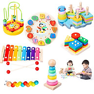 Combo 7 món đồ chơi giáo dục bằng gỗ sơn màu sinh động cho bé phát triển trí tuệ từ sớm - W2011 thumbnail