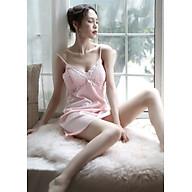 Váy ngủ hai dây sang chảnh Có đệm ngực màu hồng nhẹ dành cho quý cô (SEXY CÓ ĐỆM NGỰC) thumbnail