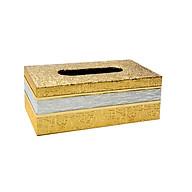 Hộp đựng giấy ăn, khăn giấy họa tiết dập nổi màu vàng sang trọng thumbnail