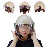 Mũ bảo hiểm 3 4 kính càng SRT thông gió viền đồng - Màu Kem thumbnail