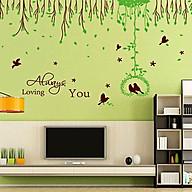Decal dán tường tán dây xanh 2 mảnh ay217 thumbnail
