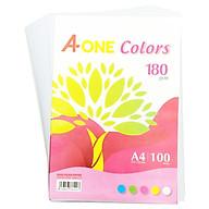 Giấy Màu Bìa Thái A-One A4 180gsm - Mẫu 4 - Màu Trắng thumbnail