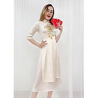 Áo Dài Cách Tân Kiểu Set Áo Dài Gấm Cao Cấp Tay Lỡ Đính Phụ Kiện Kèm Chân Váy GOTI 3170 thumbnail