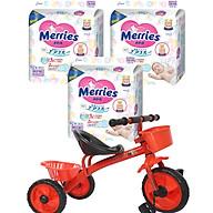 Combo 3 gói tã dán Merries size NB90 S82 M64 L54 XL44 tặng xe ba bánh VBCare cao cấp cho bé và đồ chơi Toys House thumbnail