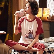 Đồ bộ lửng mặc nhà cotton mùa hè dành cho nữ Quãng Châu M2011 thumbnail